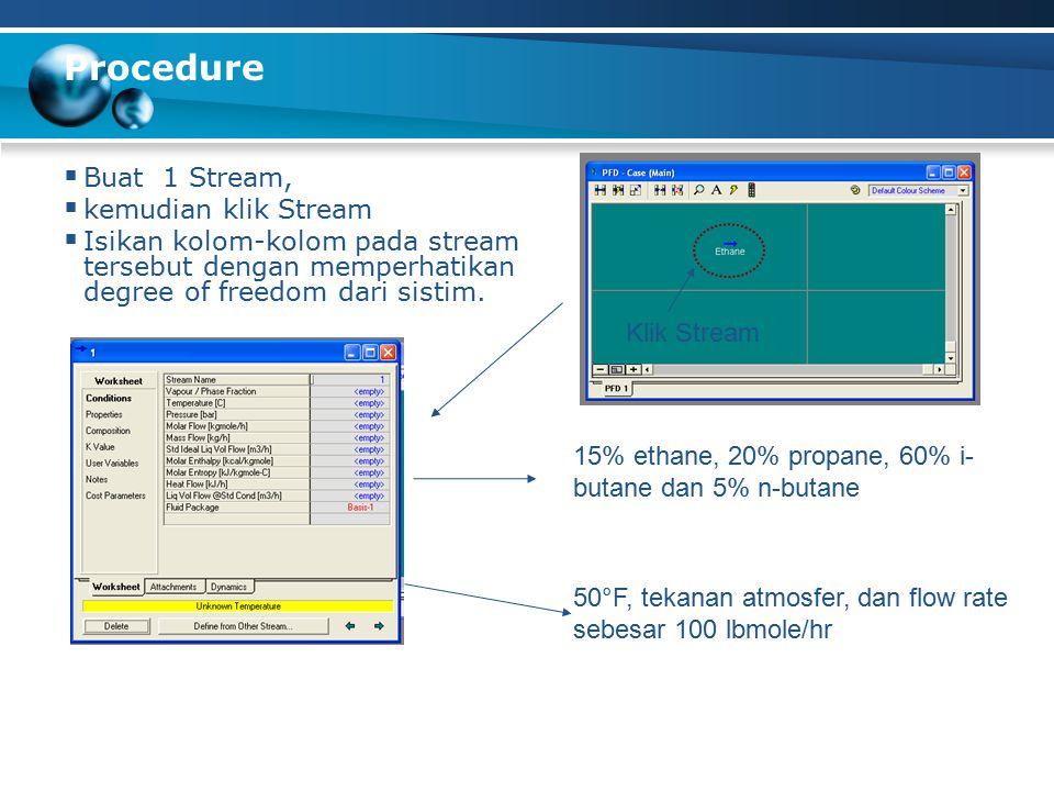 Procedure  Buat 1 Stream,  kemudian klik Stream  Isikan kolom-kolom pada stream tersebut dengan memperhatikan degree of freedom dari sistim.
