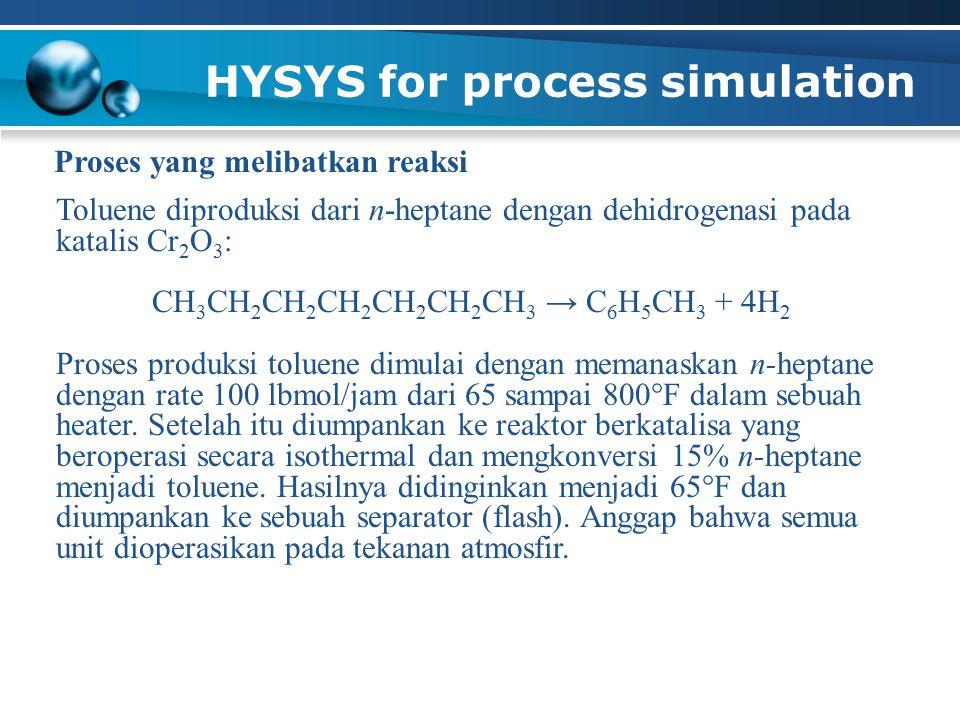 HYSYS for process simulation Proses yang melibatkan reaksi Toluene diproduksi dari n-heptane dengan dehidrogenasi pada katalis Cr 2 O 3 : CH 3 CH 2 CH 2 CH 2 CH 2 CH 2 CH 3 → C 6 H 5 CH 3 + 4H 2 Proses produksi toluene dimulai dengan memanaskan n-heptane dengan rate 100 lbmol/jam dari 65 sampai 800  F dalam sebuah heater.