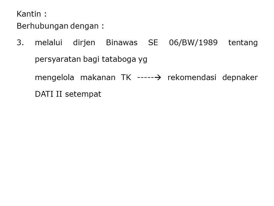 Kantin : Berhubungan dengan : 3.melalui dirjen Binawas SE 06/BW/1989 tentang persyaratan bagi tataboga yg mengelola makanan TK -----  rekomendasi dep