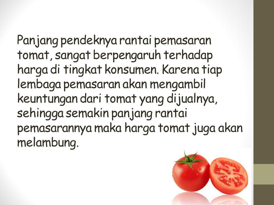 Panjang pendeknya rantai pemasaran tomat, sangat berpengaruh terhadap harga di tingkat konsumen. Karena tiap lembaga pemasaran akan mengambil keuntung