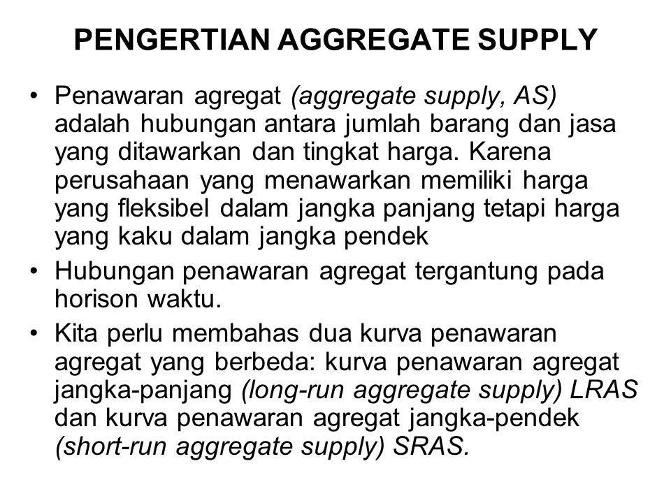 PENGERTIAN AGGREGATE SUPPLY Penawaran agregat (aggregate supply, AS) adalah hubungan antara jumlah barang dan jasa yang ditawarkan dan tingkat harga.