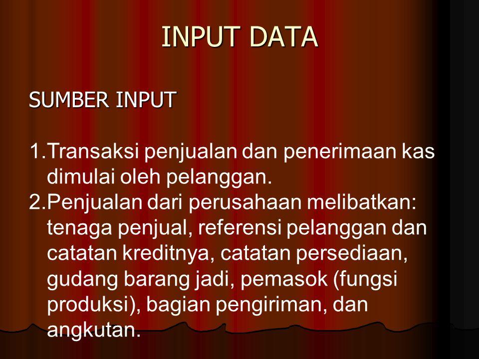 INPUT DATA SUMBER INPUT 1.Transaksi penjualan dan penerimaan kas dimulai oleh pelanggan. 2.Penjualan dari perusahaan melibatkan: tenaga penjual, refer