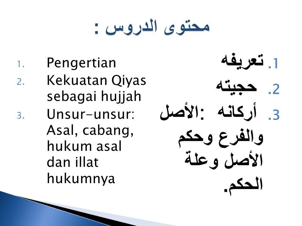 1. تعريفه 2. حجيته 3. أركانه : الأصل والفرع وحكم الأصل وعلة الحكم.