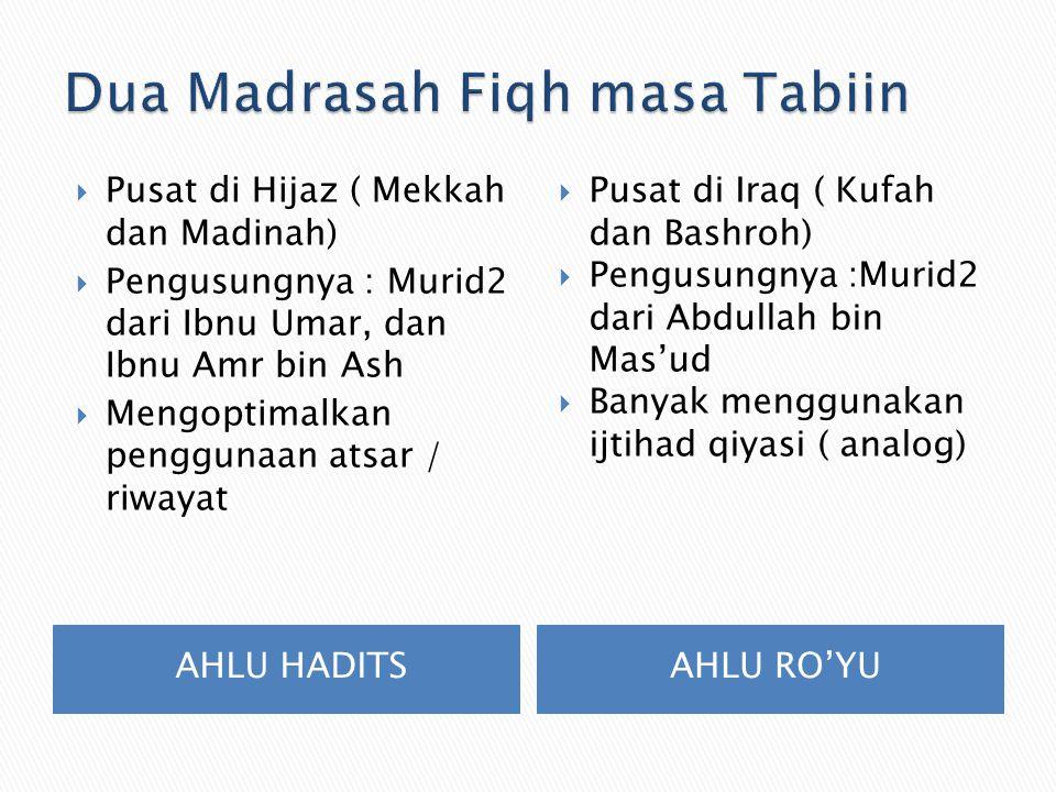 AHLU HADITSAHLU RO'YU  Pusat di Hijaz ( Mekkah dan Madinah)  Pengusungnya : Murid2 dari Ibnu Umar, dan Ibnu Amr bin Ash  Mengoptimalkan penggunaan atsar / riwayat  Pusat di Iraq ( Kufah dan Bashroh)  Pengusungnya :Murid2 dari Abdullah bin Mas'ud  Banyak menggunakan ijtihad qiyasi ( analog)
