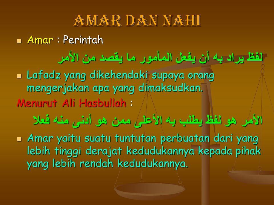 Amar Dan Nahi Amar : Perintah لفظ يراد به أن يفعل المأمور ما يقصد من الأمر Lafadz yang dikehendaki supaya orang mengerjakan apa yang dimaksudkan. Menu