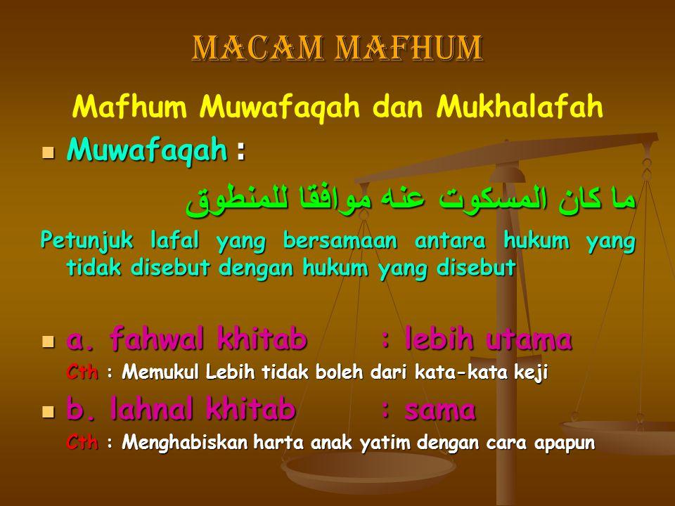 Macam Mafhum Mafhum Muwafaqah dan Mukhalafah Muwafaqah : Muwafaqah : ما كان المسكوت عنه موافقا للمنطوق Petunjuk lafal yang bersamaan antara hukum yang