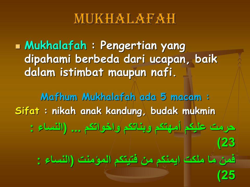 mukhalafah Mukhalafah : Pengertian yang dipahami berbeda dari ucapan, baik dalam istimbat maupun nafi. Mukhalafah : Pengertian yang dipahami berbeda d