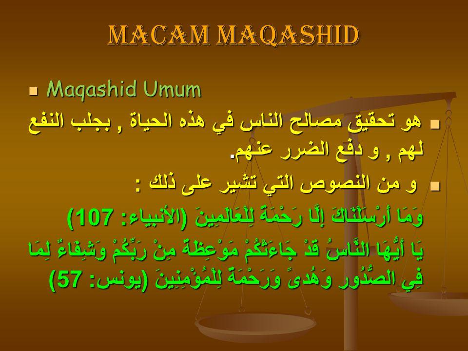 Macam maqashid Maqashid Umum Maqashid Umum هو تحقيق مصالح الناس في هذه الحياة, بجلب النفع لهم, و دفع الضرر عنهم. هو تحقيق مصالح الناس في هذه الحياة, ب