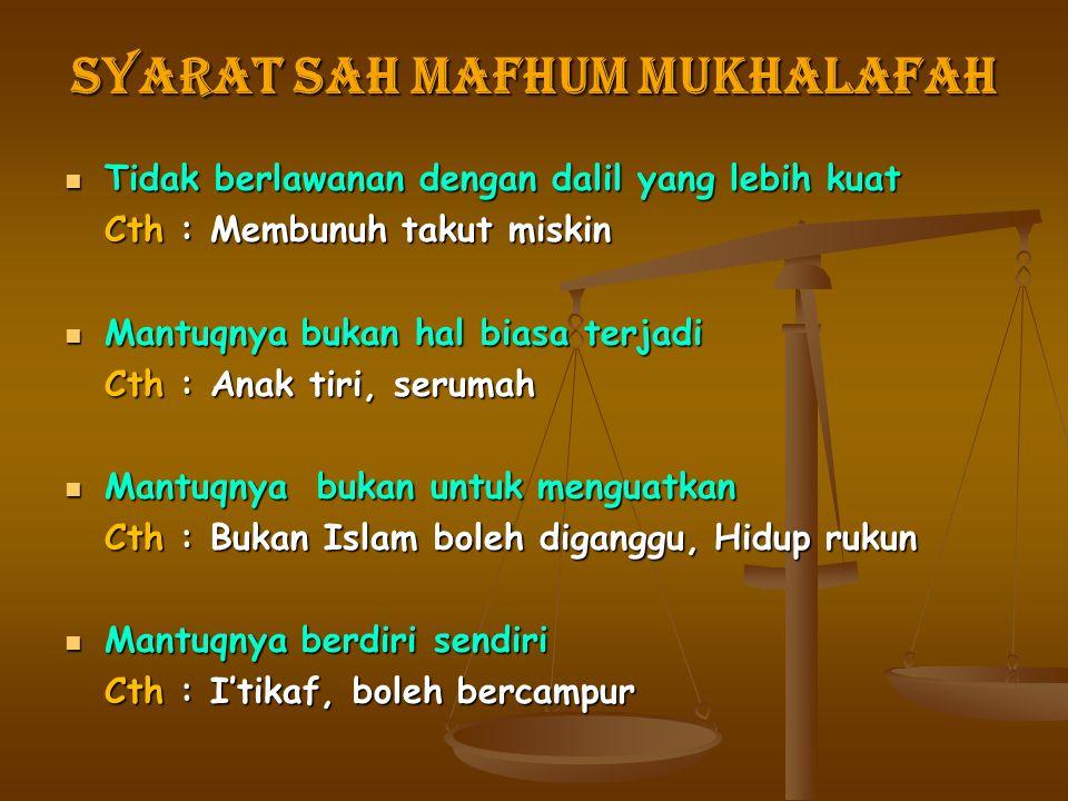 Syarat Sah Mafhum Mukhalafah Tidak berlawanan dengan dalil yang lebih kuat Tidak berlawanan dengan dalil yang lebih kuat Cth : Membunuh takut miskin M