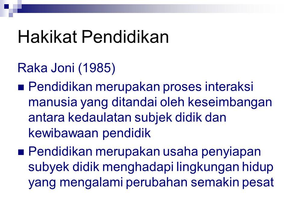 Hakikat Pendidikan Raka Joni (1985) Pendidikan merupakan proses interaksi manusia yang ditandai oleh keseimbangan antara kedaulatan subjek didik dan k