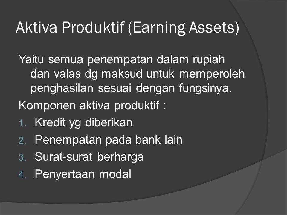 Aktiva Produktif (Earning Assets) Yaitu semua penempatan dalam rupiah dan valas dg maksud untuk memperoleh penghasilan sesuai dengan fungsinya. Kompon