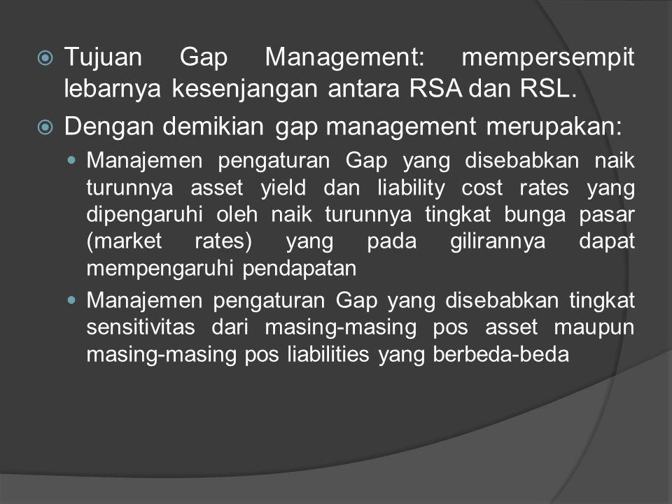  Tujuan Gap Management: mempersempit lebarnya kesenjangan antara RSA dan RSL.  Dengan demikian gap management merupakan: Manajemen pengaturan Gap ya