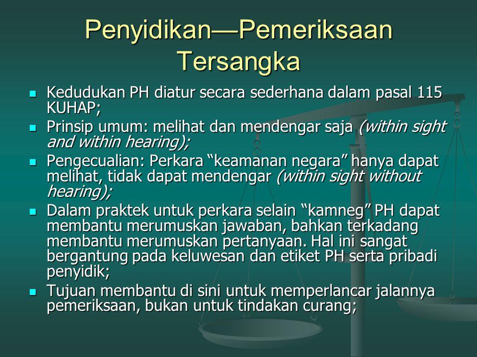 Penyidikan—Pemeriksaan Saksi (Pasal 6 s/d 9 KUHAP) Penyidik adalah Pejabat Polisi Negara Republik Indonesia atau Pejabat Pegawai Negeri Sipil tertentu