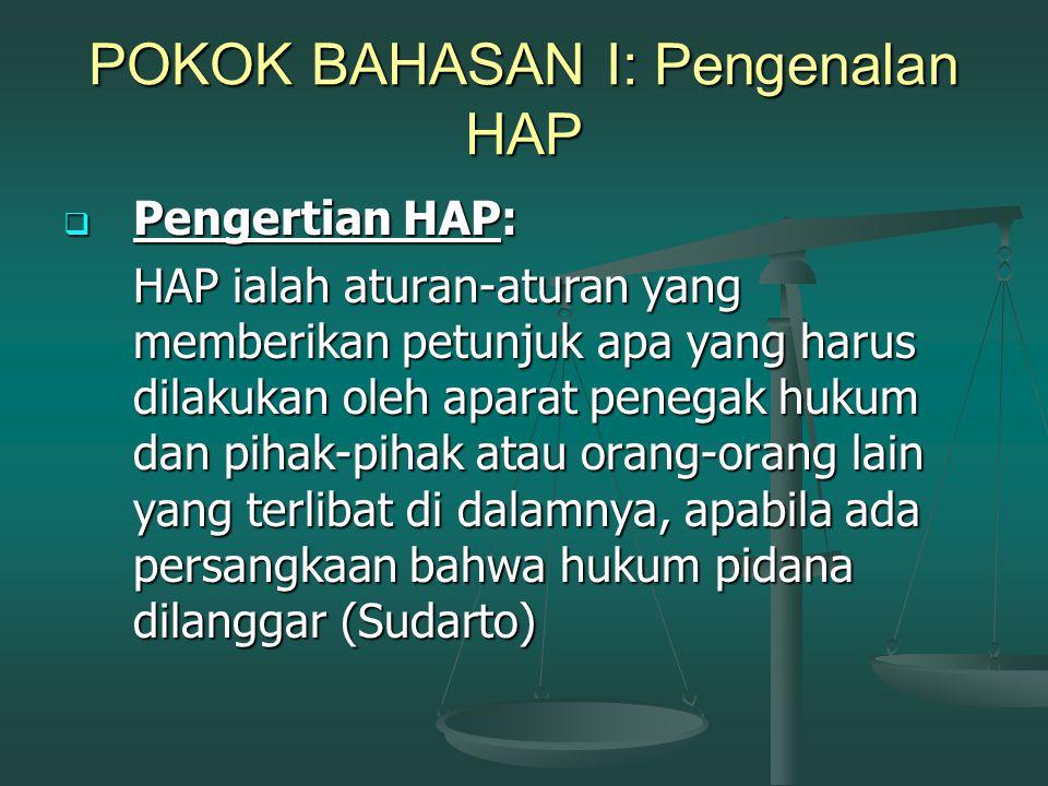 POKOK BAHASAN II: Pengenalan Lanjutan HAP  Asas-asas HAP:  Equality before the law (isonomia);  Principle of legality terhadap seluruh proses hukum;  Presumption of innocence;  Ganti rugi dan rehabilitasi;  Speedy trial (constante justitie) and fair trial;