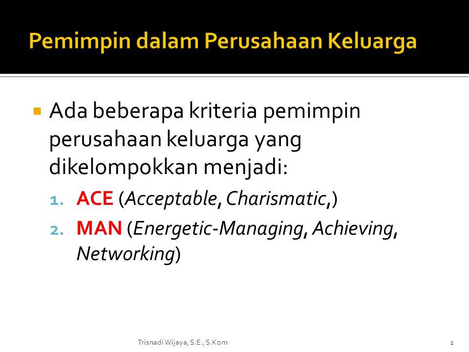  Ada beberapa kriteria pemimpin perusahaan keluarga yang dikelompokkan menjadi: 1. ACE (Acceptable, Charismatic,) 2. MAN (Energetic-Managing, Achievi