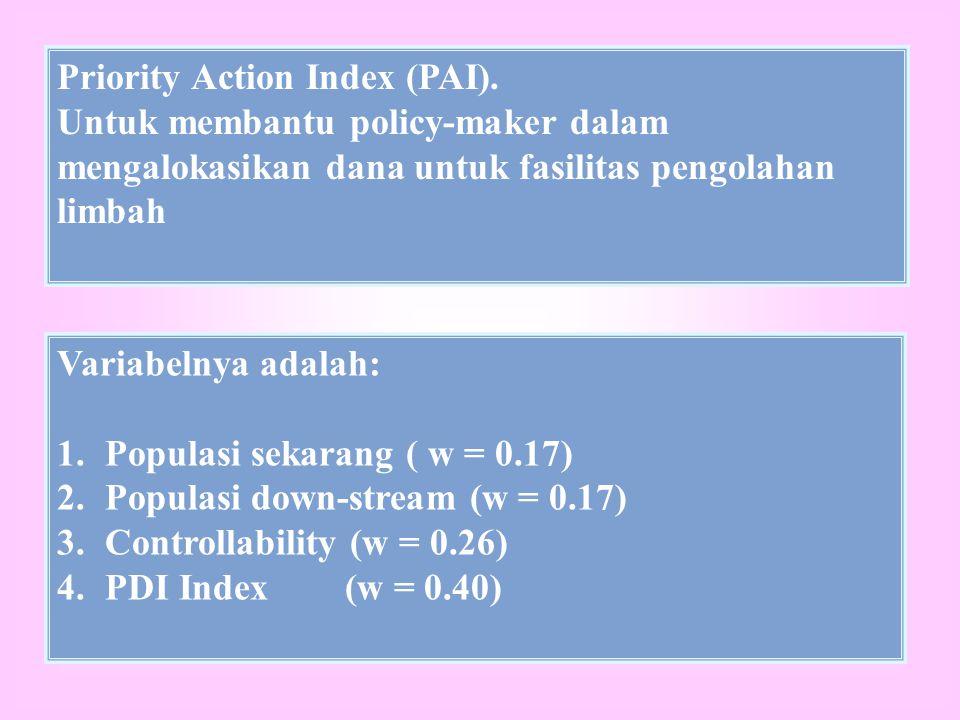 Priority Action Index (PAI). Untuk membantu policy-maker dalam mengalokasikan dana untuk fasilitas pengolahan limbah Variabelnya adalah: 1.Populasi se
