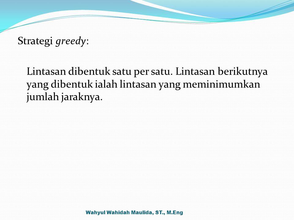Strategi greedy: Lintasan dibentuk satu per satu. Lintasan berikutnya yang dibentuk ialah lintasan yang meminimumkan jumlah jaraknya. Wahyul Wahidah M