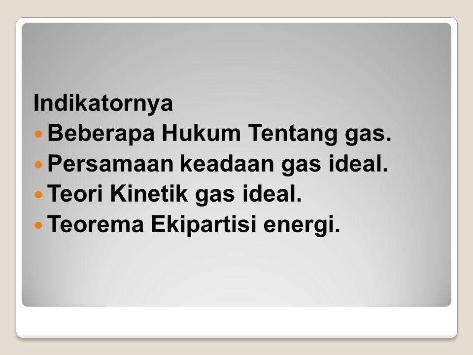 Indikatornya Beberapa Hukum Tentang gas.Persamaan keadaan gas ideal.