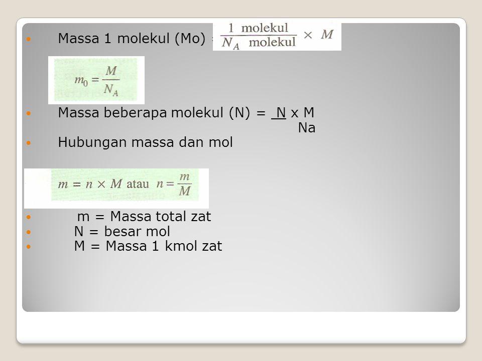Massa 1 molekul (Mo) = Massa beberapa molekul (N) = N x M Na Hubungan massa dan mol m = Massa total zat N = besar mol M = Massa 1 kmol zat