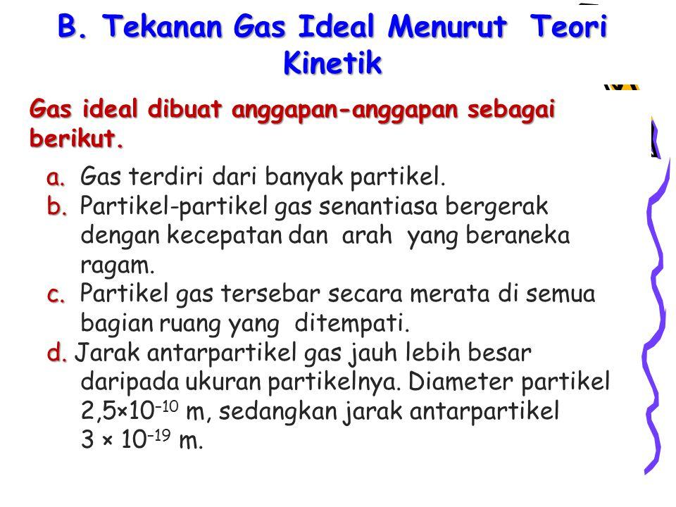 Gas ideal dibuat anggapan-anggapan sebagai berikut.