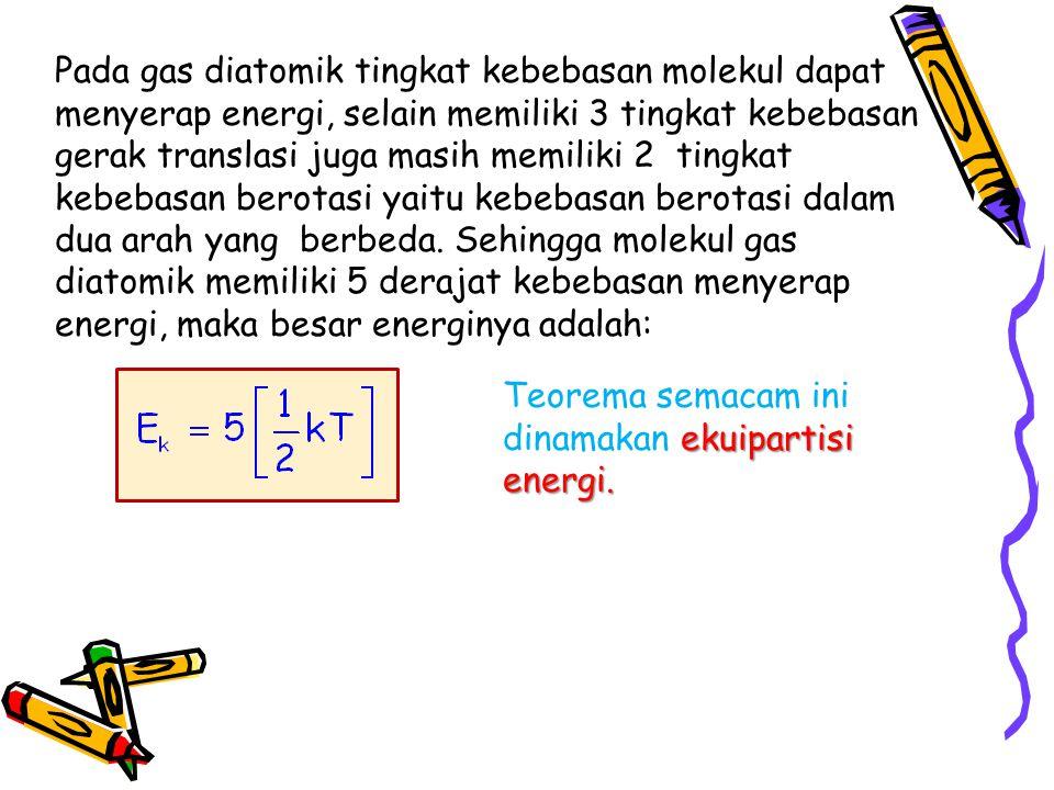 Pada gas diatomik tingkat kebebasan molekul dapat menyerap energi, selain memiliki 3 tingkat kebebasan gerak translasi juga masih memiliki 2 tingkat kebebasan berotasi yaitu kebebasan berotasi dalam dua arah yang berbeda.