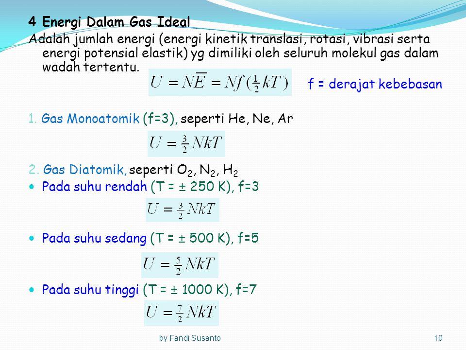 4Energi Dalam Gas Ideal Adalah jumlah energi (energi kinetik translasi, rotasi, vibrasi serta energi potensial elastik) yg dimiliki oleh seluruh molek