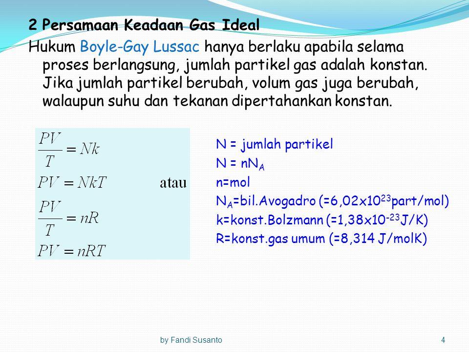 2Persamaan Keadaan Gas Ideal Hukum Boyle-Gay Lussac hanya berlaku apabila selama proses berlangsung, jumlah partikel gas adalah konstan. Jika jumlah p
