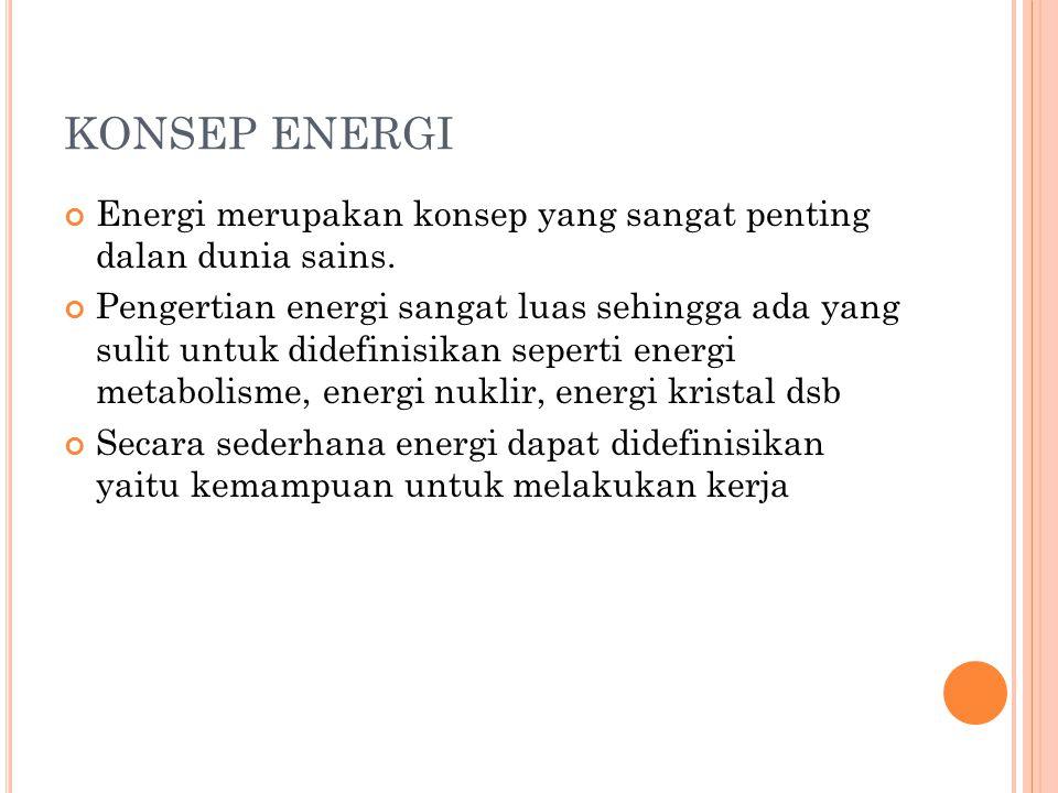 KONSEP ENERGI Energi merupakan konsep yang sangat penting dalan dunia sains. Pengertian energi sangat luas sehingga ada yang sulit untuk didefinisikan