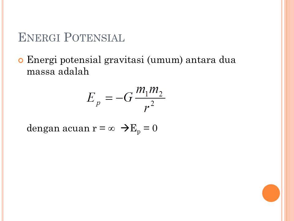 E NERGI P OTENSIAL Energi potensial gravitasi (umum) antara dua massa adalah dengan acuan r =   E p = 0