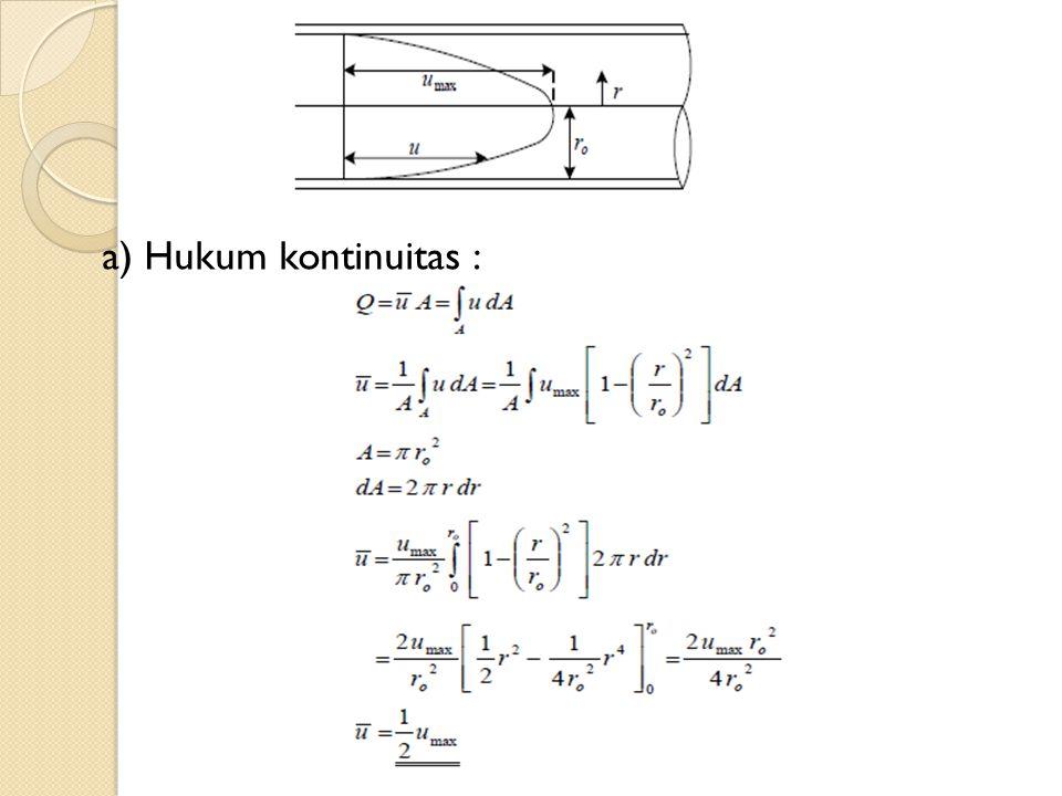 b) Persamaan menunjukkan besarnya koefisien energi kinetik α dalam hubungannya dengan pembagian kecepatan aliran, yaitu : Dengan memasukkan Persamaan ke dalam Persamaan diperoleh: