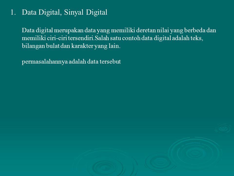 1.Data Digital, Sinyal Digital Data digital merupakan data yang memiliki deretan nilai yang berbeda dan memiliki ciri-ciri tersendiri.Salah satu conto