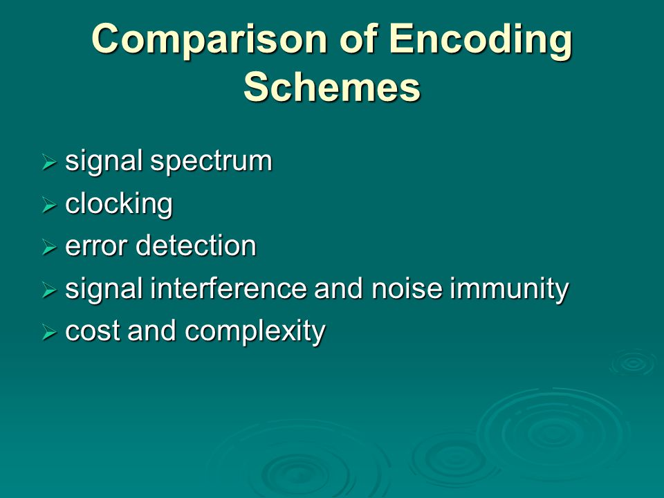 Comparison of Encoding Schemes  signal spectrum  clocking  error detection  signal interference and noise immunity  cost and complexity