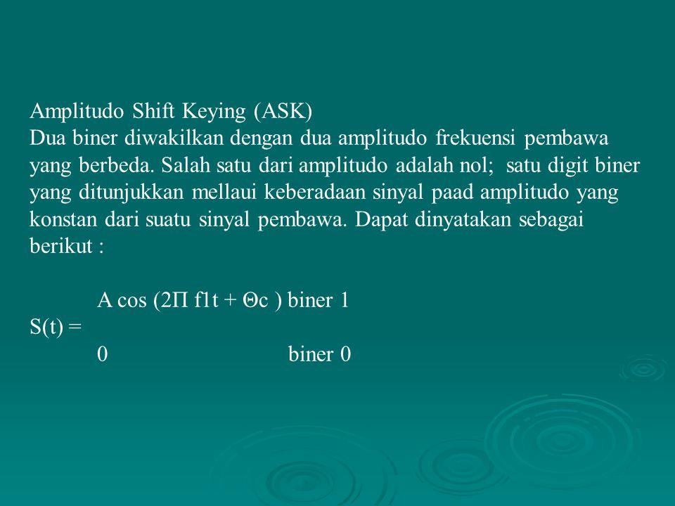 Amplitudo Shift Keying (ASK) Dua biner diwakilkan dengan dua amplitudo frekuensi pembawa yang berbeda. Salah satu dari amplitudo adalah nol; satu digi