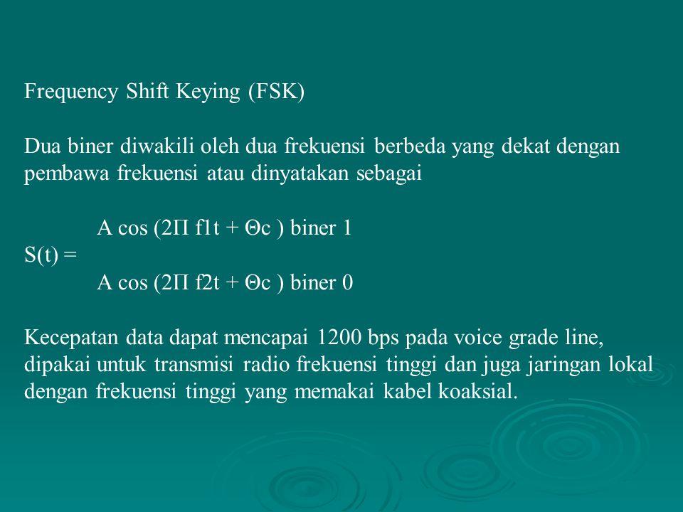 Frequency Shift Keying (FSK) Dua biner diwakili oleh dua frekuensi berbeda yang dekat dengan pembawa frekuensi atau dinyatakan sebagai A cos (2Π f1t +