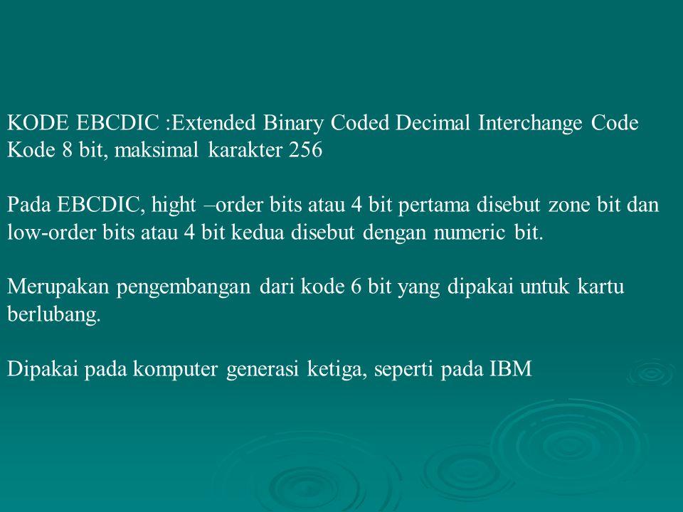 KODE EBCDIC :Extended Binary Coded Decimal Interchange Code Kode 8 bit, maksimal karakter 256 Pada EBCDIC, hight –order bits atau 4 bit pertama disebu