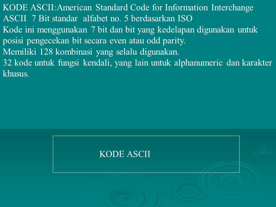KODE ASCII:American Standard Code for Information Interchange ASCII 7 Bit standar alfabet no. 5 berdasarkan ISO Kode ini menggunakan 7 bit dan bit yan