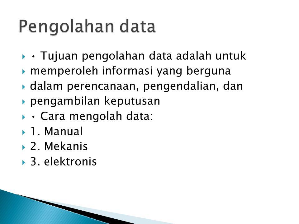  Tujuan pengolahan data adalah untuk  memperoleh informasi yang berguna  dalam perencanaan, pengendalian, dan  pengambilan keputusan  Cara mengol