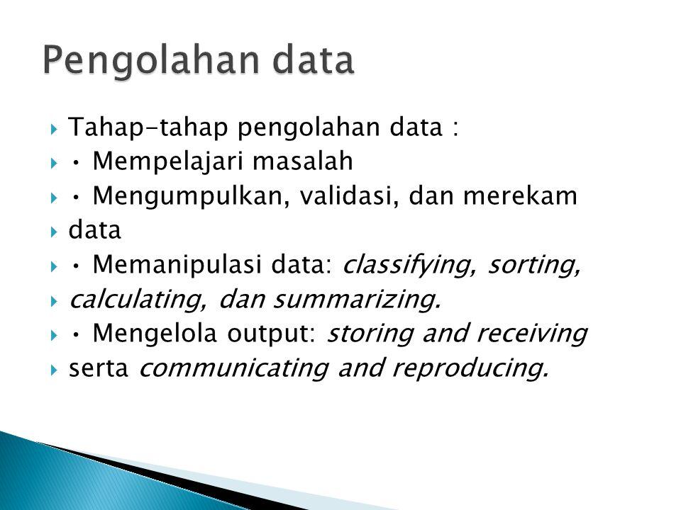 Tahap-tahap pengolahan data :  Mempelajari masalah  Mengumpulkan, validasi, dan merekam  data  Memanipulasi data: classifying, sorting,  calcul