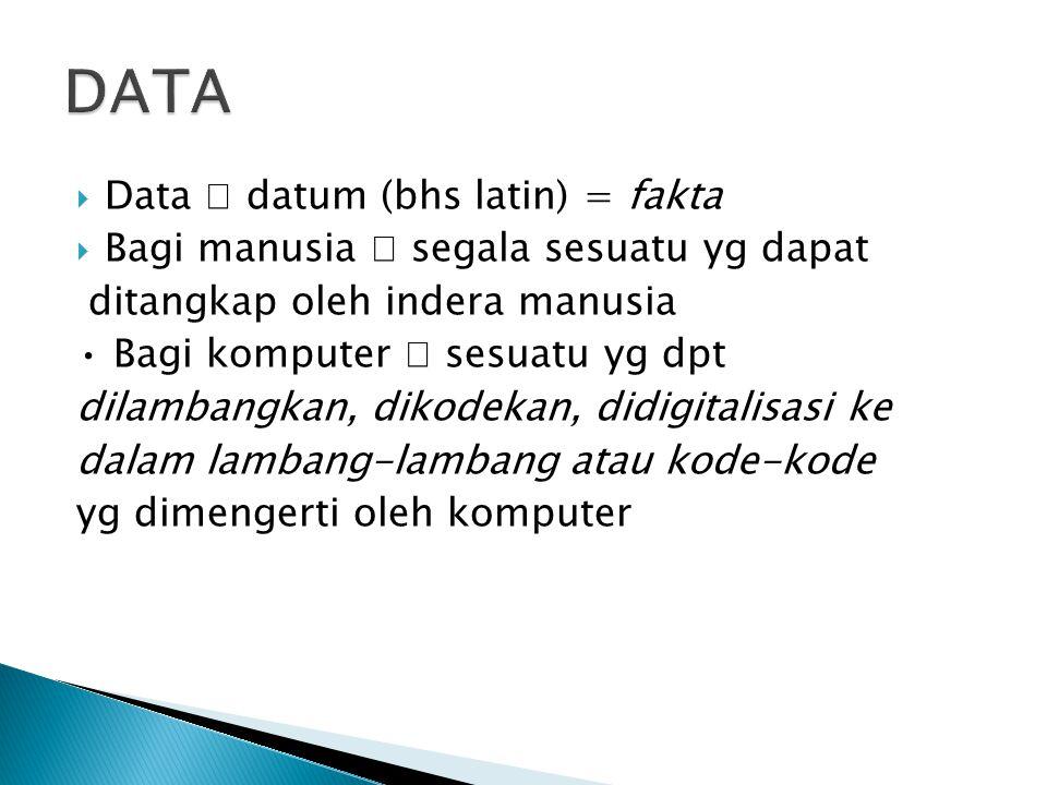  Data  datum (bhs latin) = fakta  Bagi manusia  segala sesuatu yg dapat ditangkap oleh indera manusia Bagi komputer  sesuatu yg dpt dilambangkan,