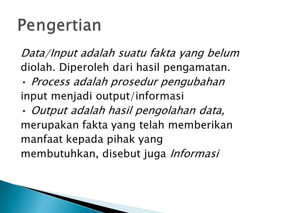 Data/Input adalah suatu fakta yang belum diolah. Diperoleh dari hasil pengamatan. Process adalah prosedur pengubahan input menjadi output/informasi Ou