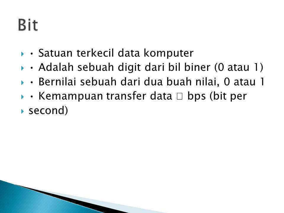  Satuan terkecil data komputer  Adalah sebuah digit dari bil biner (0 atau 1)  Bernilai sebuah dari dua buah nilai, 0 atau 1  Kemampuan transfer d