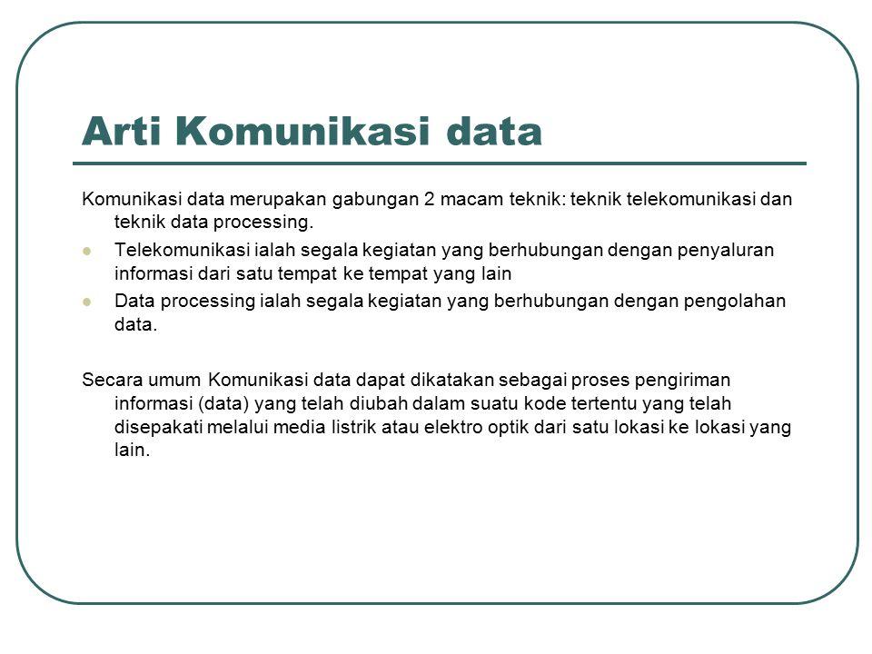 Arti Komunikasi data Komunikasi data merupakan gabungan 2 macam teknik: teknik telekomunikasi dan teknik data processing. Telekomunikasi ialah segala
