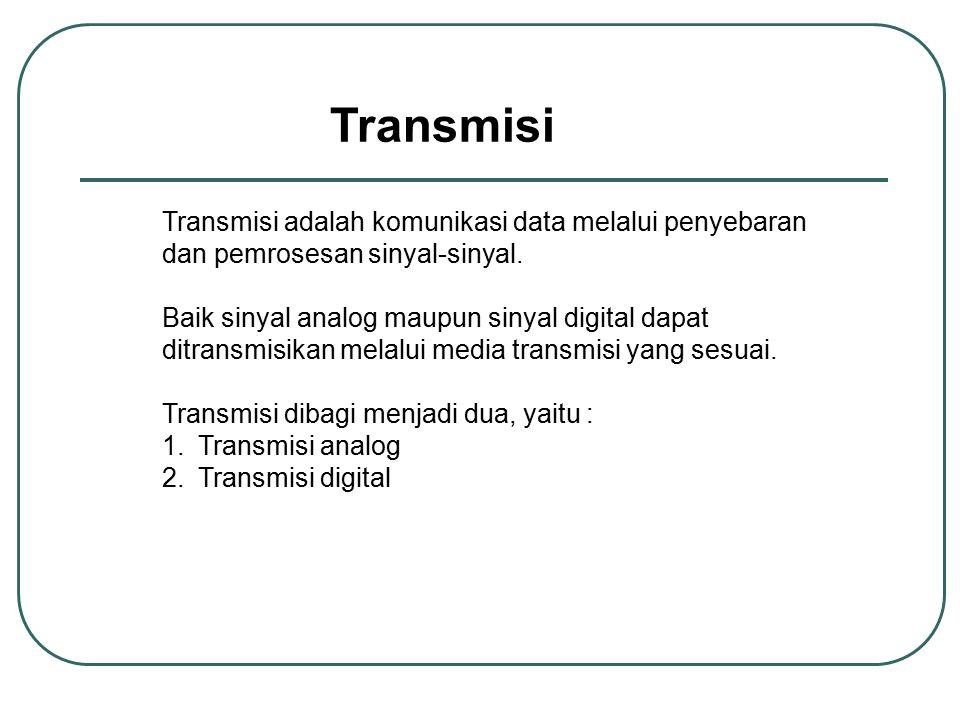 Transmisi Transmisi adalah komunikasi data melalui penyebaran dan pemrosesan sinyal-sinyal. Baik sinyal analog maupun sinyal digital dapat ditransmisi