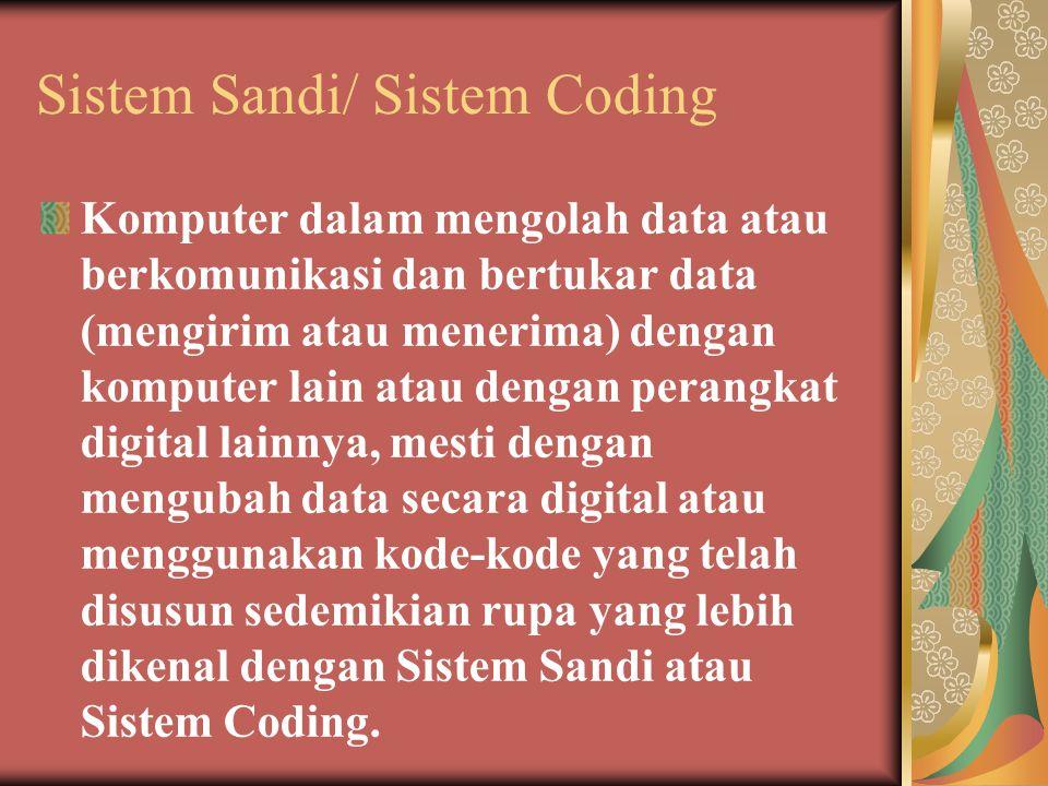 Sistem Sandi/ Sistem Coding Komputer dalam mengolah data atau berkomunikasi dan bertukar data (mengirim atau menerima) dengan komputer lain atau dengan perangkat digital lainnya, mesti dengan mengubah data secara digital atau menggunakan kode-kode yang telah disusun sedemikian rupa yang lebih dikenal dengan Sistem Sandi atau Sistem Coding.