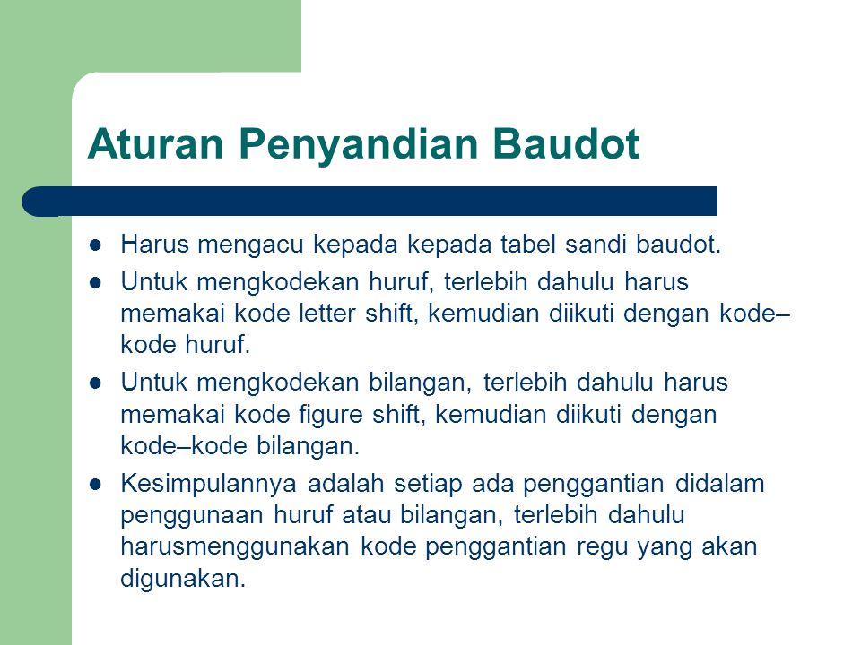 Aturan Penyandian Baudot Harus mengacu kepada kepada tabel sandi baudot. Untuk mengkodekan huruf, terlebih dahulu harus memakai kode letter shift, kem