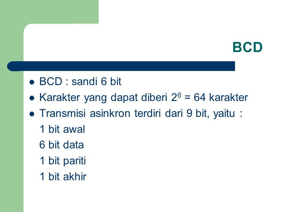 BCD BCD : sandi 6 bit Karakter yang dapat diberi 2 6 = 64 karakter Transmisi asinkron terdiri dari 9 bit, yaitu : 1 bit awal 6 bit data 1 bit pariti 1