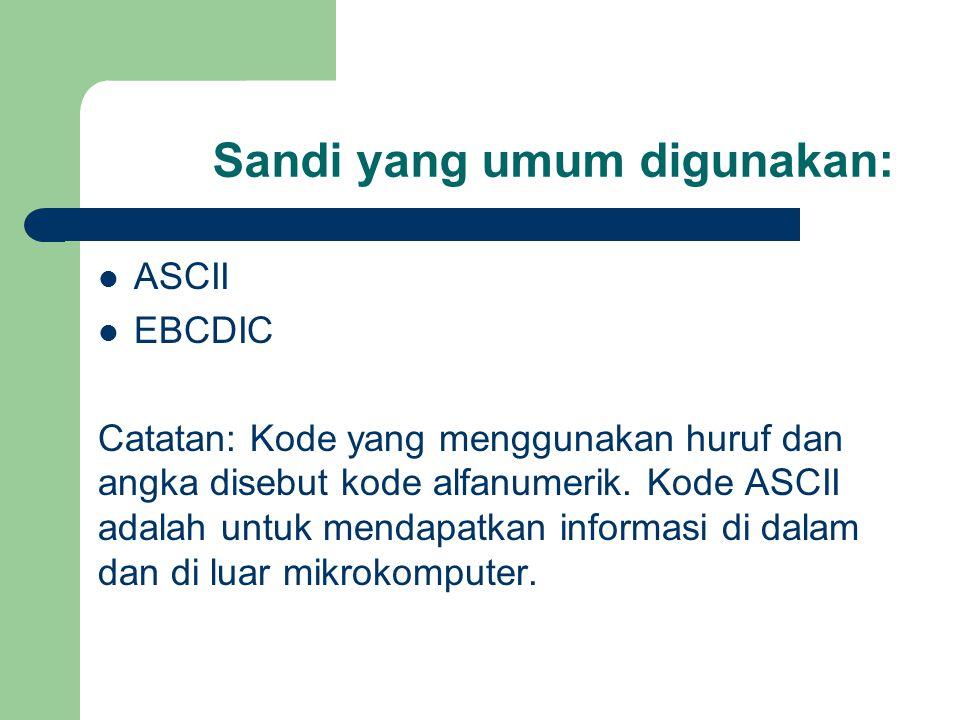 Sandi yang umum digunakan: ASCII EBCDIC Catatan: Kode yang menggunakan huruf dan angka disebut kode alfanumerik. Kode ASCII adalah untuk mendapatkan i