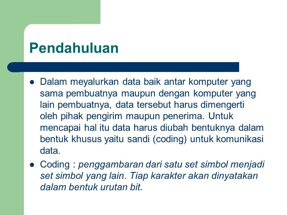 Sistem Sandi yang Umum dipakai: ASCII (American Standard Code For Information Interchange) EBCDIC (Exendeed Binary Coded Decimal Interchange Code) Sandi Baudot (CCITT Alfabet No.2/Telex Code) Sandi 4 atau 8 BCD (Binary Coded Decimal)