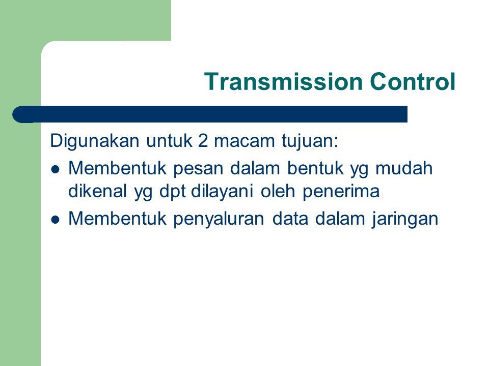 Transmission Control Digunakan untuk 2 macam tujuan: Membentuk pesan dalam bentuk yg mudah dikenal yg dpt dilayani oleh penerima Membentuk penyaluran