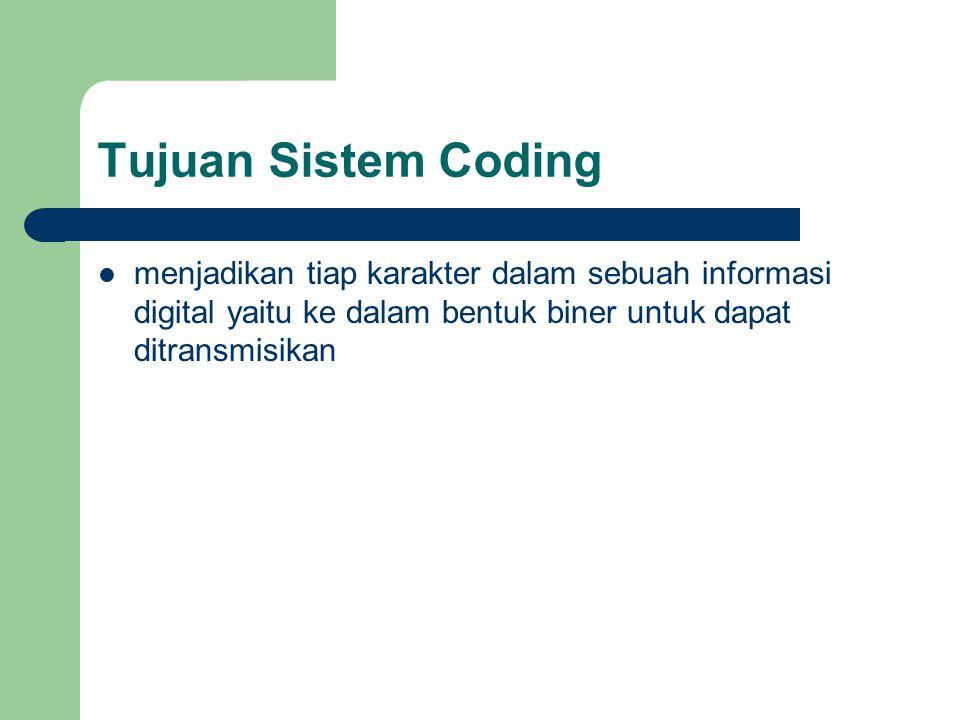 Tujuan Sistem Coding menjadikan tiap karakter dalam sebuah informasi digital yaitu ke dalam bentuk biner untuk dapat ditransmisikan